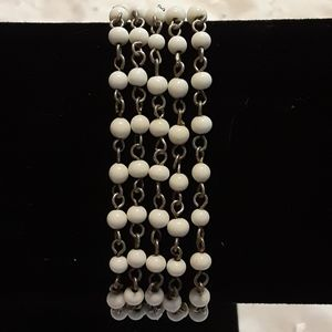 Vintage chain white beaded 5 strand bracelet